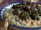 Pilaff with stuffed grape leaves