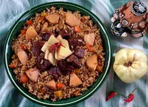 Pilaf with quinces