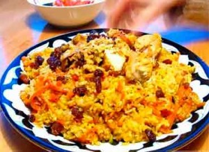 Pilaf with raisins (Bukhara method)